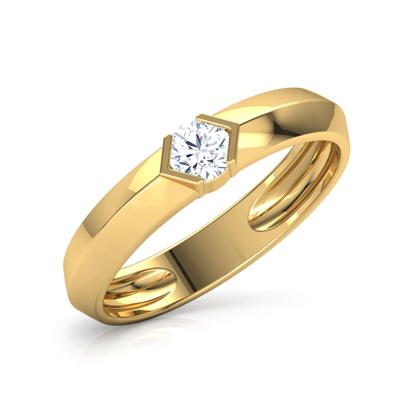 Solitaire Rings 18 Karat White Gold Mason Solitaire Ring for Men