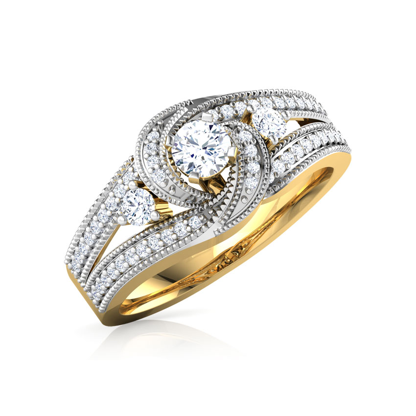 Solitaire Rings 14 Karat Yellow Gold Glitter Twirl Solitaire Ring