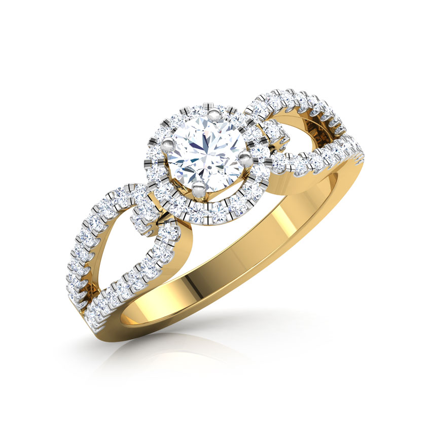 Solitaire Rings 18 Karat Yellow Gold Eleanor Hoop Solitaire Ring