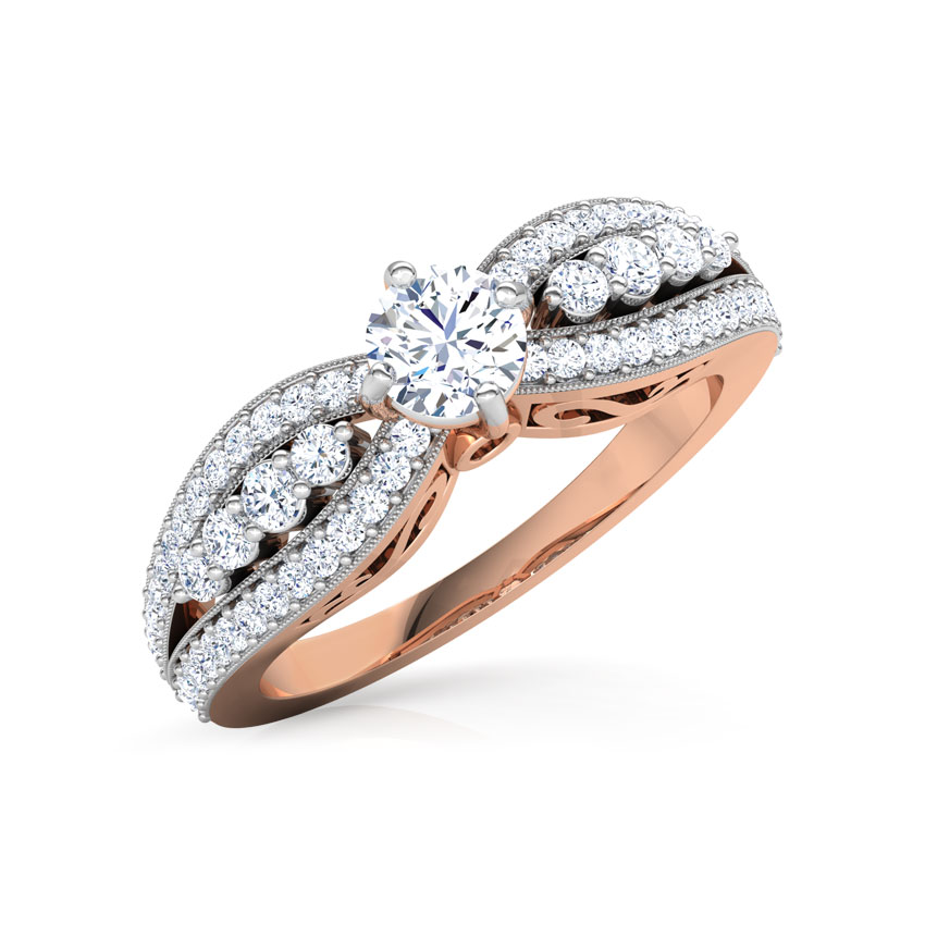 Solitaire Rings 18 Karat Rose Gold Isabella Scroll Solitaire Ring