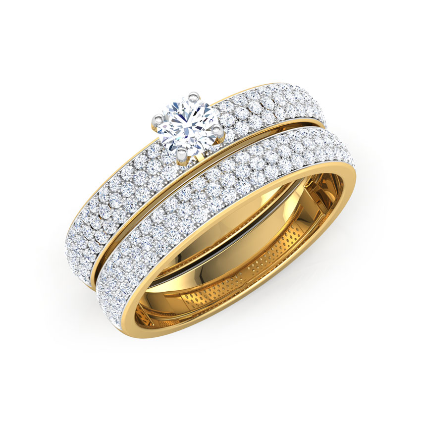 Solitaire Rings 14 Karat Yellow Gold Gleam Solitaire Bridal Ring Set