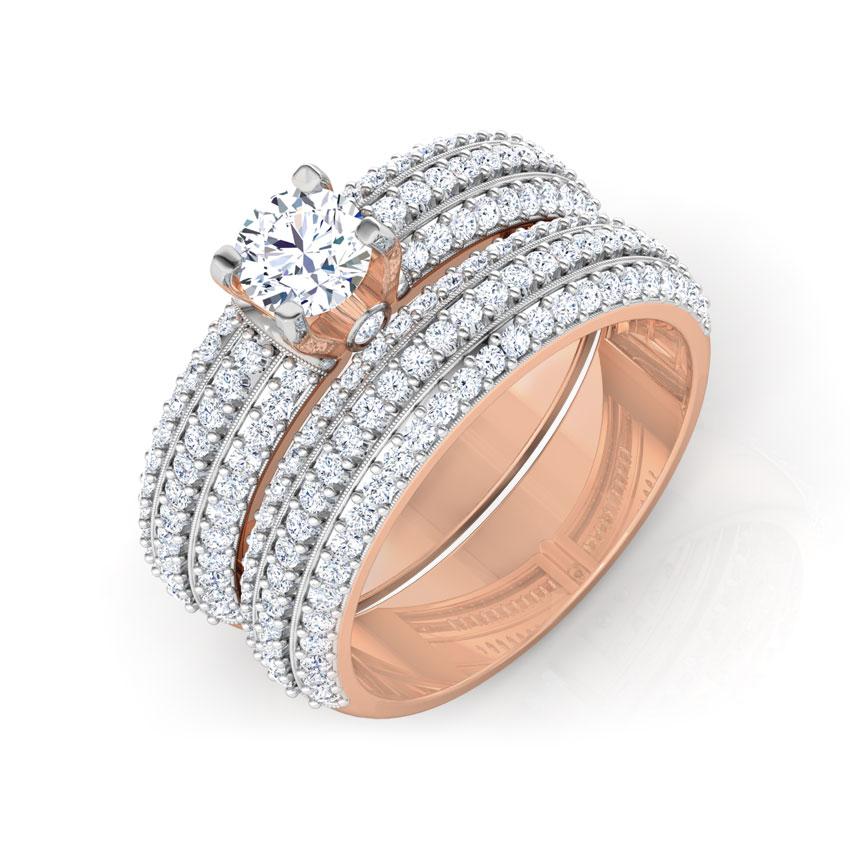 Solitaire Rings 14 Karat Rose Gold Lustre Solitaire Bridal Ring Set