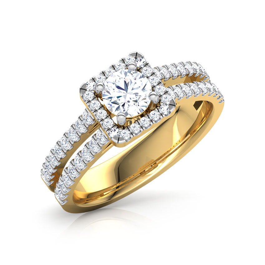 Solitaire Rings 14 Karat Yellow Gold Cristina Quad Solitaire Ring