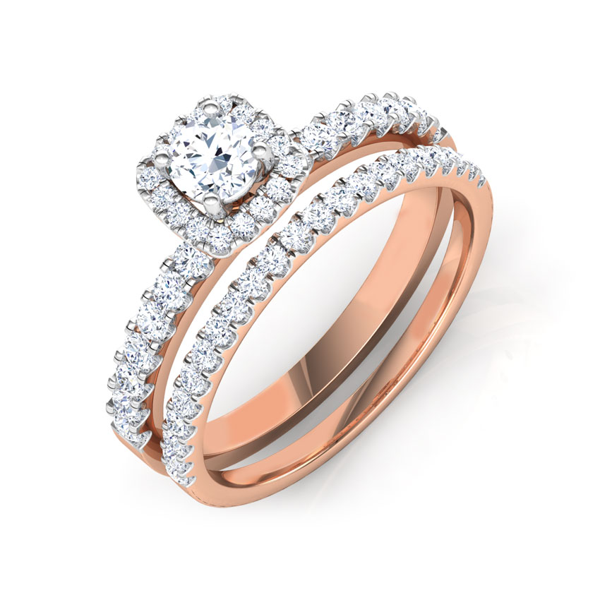 Solitaire Rings 14 Karat Rose Gold Twinkle Solitaire Bridal Ring Set