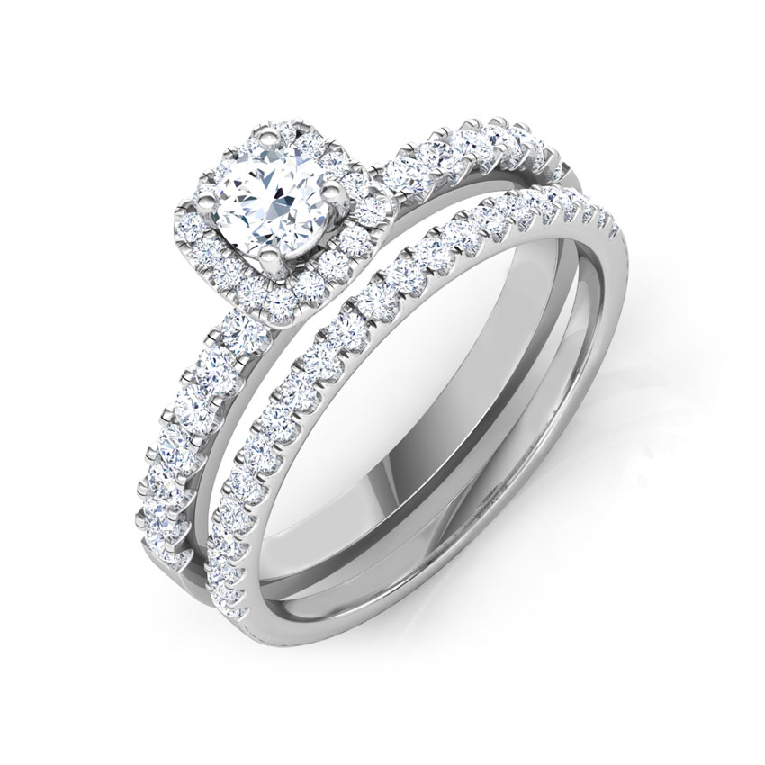 Solitaire Rings 18 Karat White Gold Twinkle Solitaire Bridal Ring Set