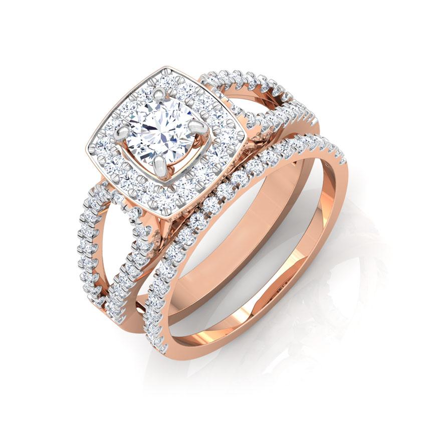 Solitaire Rings 18 Karat Rose Gold Glaze Solitaire Bridal Ring Set