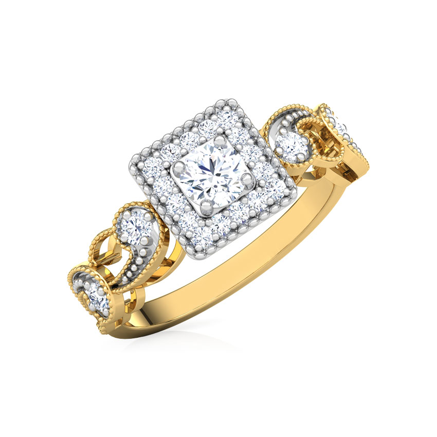 Solitaire Rings 18 Karat Yellow Gold Daisy Filigree Solitaire Ring