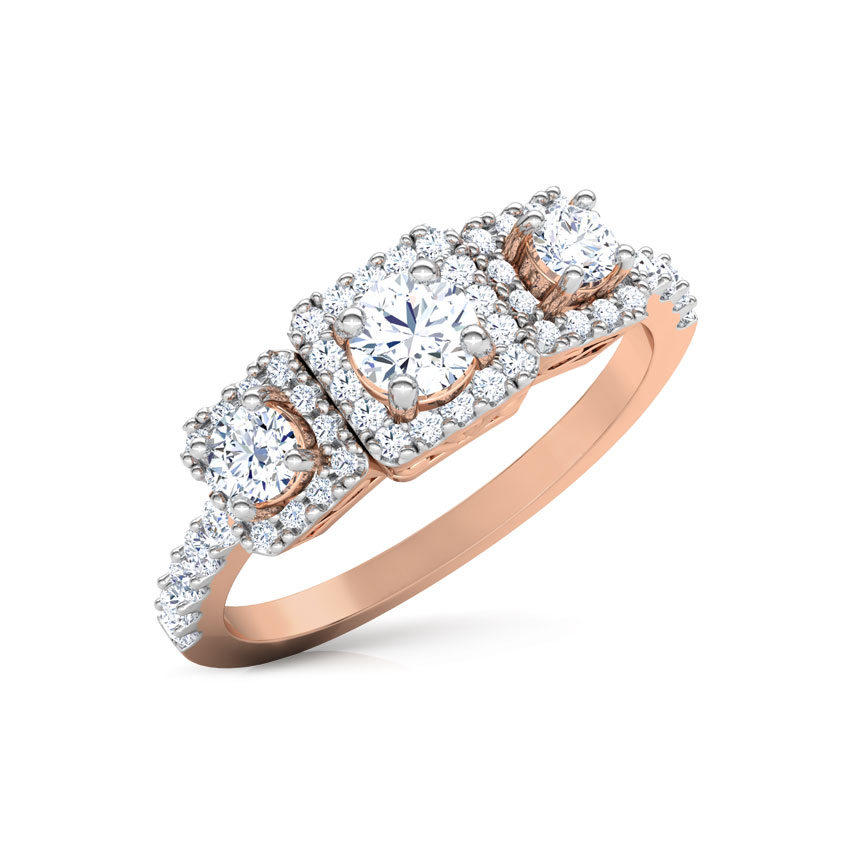Solitaire Rings 18 Karat Rose Gold Beth Quad Solitaire Ring