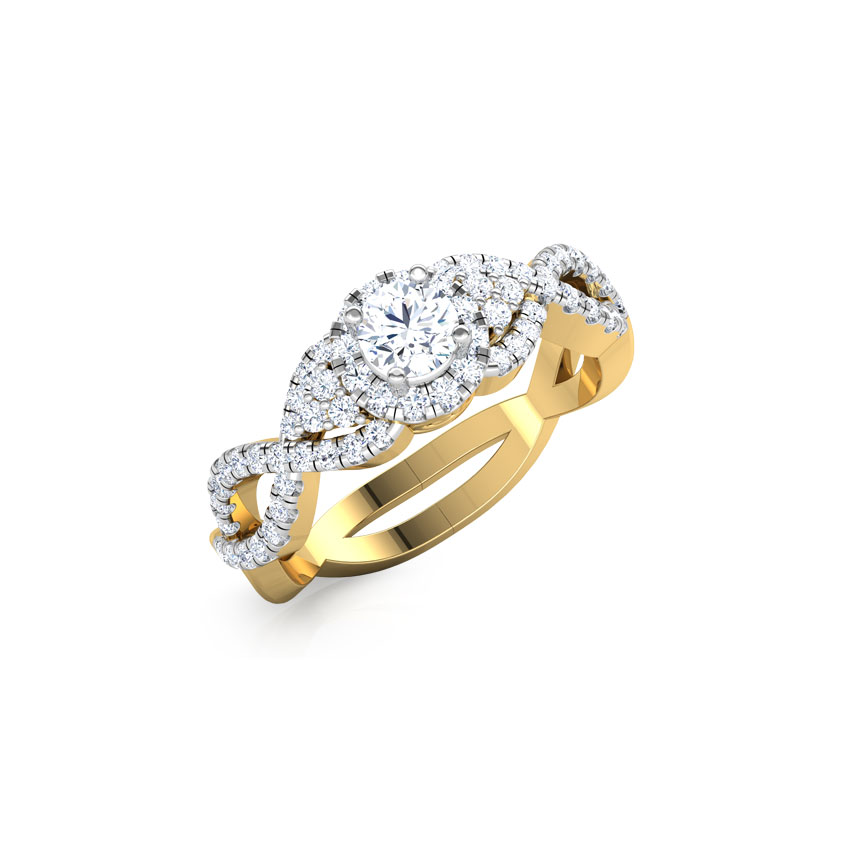 Solitaire Rings 18 Karat Yellow Gold Lucy Weave Solitaire Ring