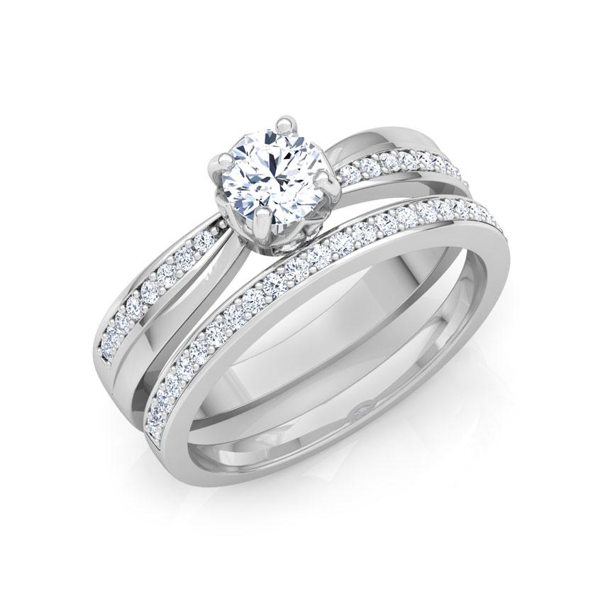 Solitaire Rings 14 Karat White Gold Glitter Solitaire Bridal Ring Set