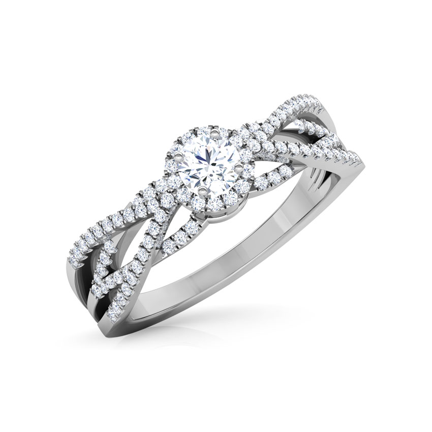 Solitaire Rings 18 Karat White Gold Nina Twine Solitaire Ring