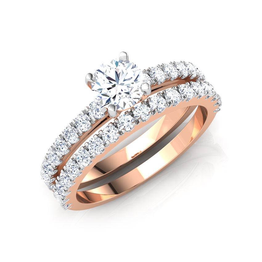 Solitaire Rings 14 Karat Rose Gold Brilliant Solitaire Bridal Ring Set