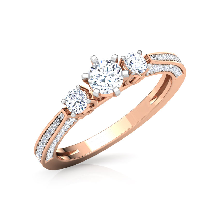 Solitaire Rings 18 Karat Rose Gold Julia Three Stone Solitaire Ring