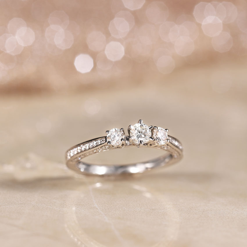 Solitaire Rings 14 Karat White Gold Julia Three Stone Solitaire Ring