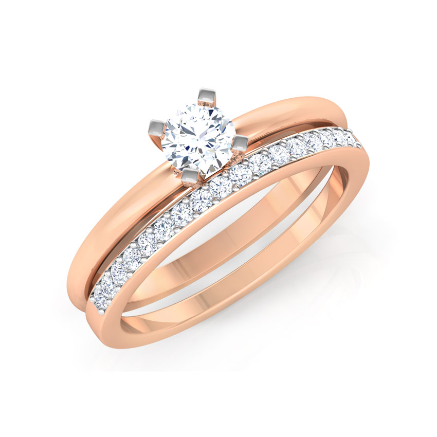 Solitaire Rings 14 Karat Rose Gold Glow Solitaire Bridal Ring Set