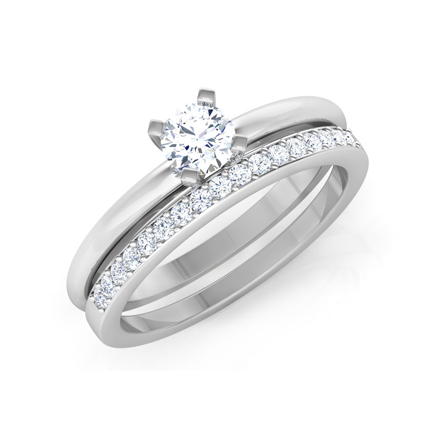Solitaire Rings 14 Karat White Gold Glow Solitaire Bridal Ring Set