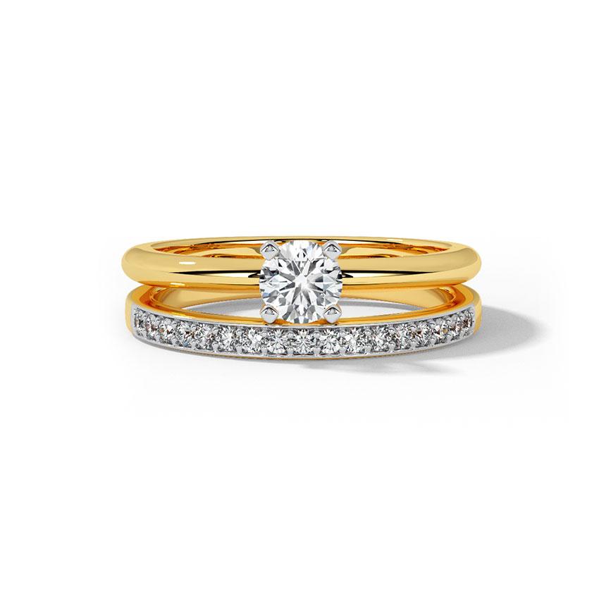 Solitaire Rings Platinum 950 Platinum Glow Solitaire Bridal Ring Set