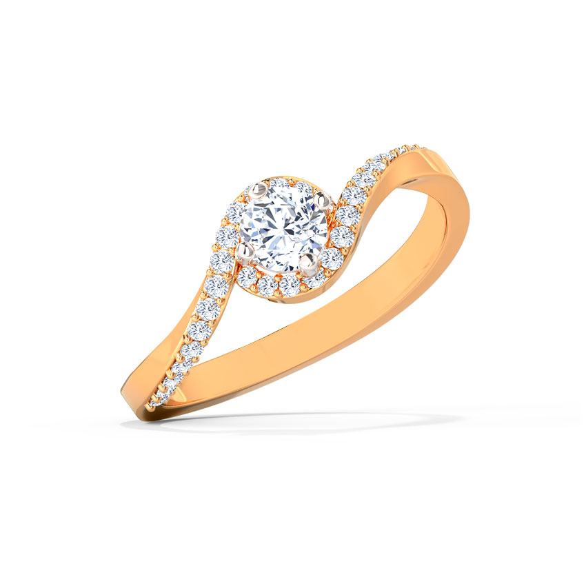 Solitaire Rings 18 Karat Rose Gold Sia Swerve Solitaire Ring