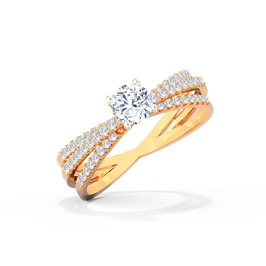 Solitaire Rings 18 Karat Rose Gold Serene Streaks Solitaire Ring
