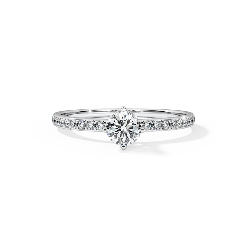 Solitaire Rings 18 Karat White Gold Selena Enticing Solitaire Ring