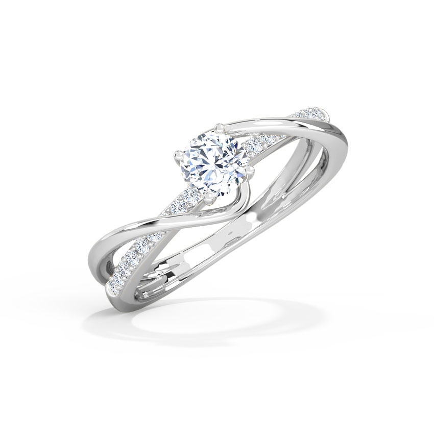 Solitaire Rings 18 Karat White Gold Tia Twine Solitaire Ring