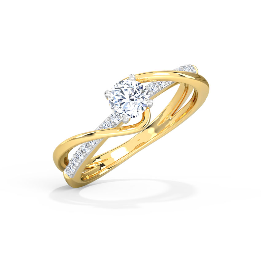 Solitaire Rings 18 Karat Yellow Gold Tia Twine Solitaire Ring