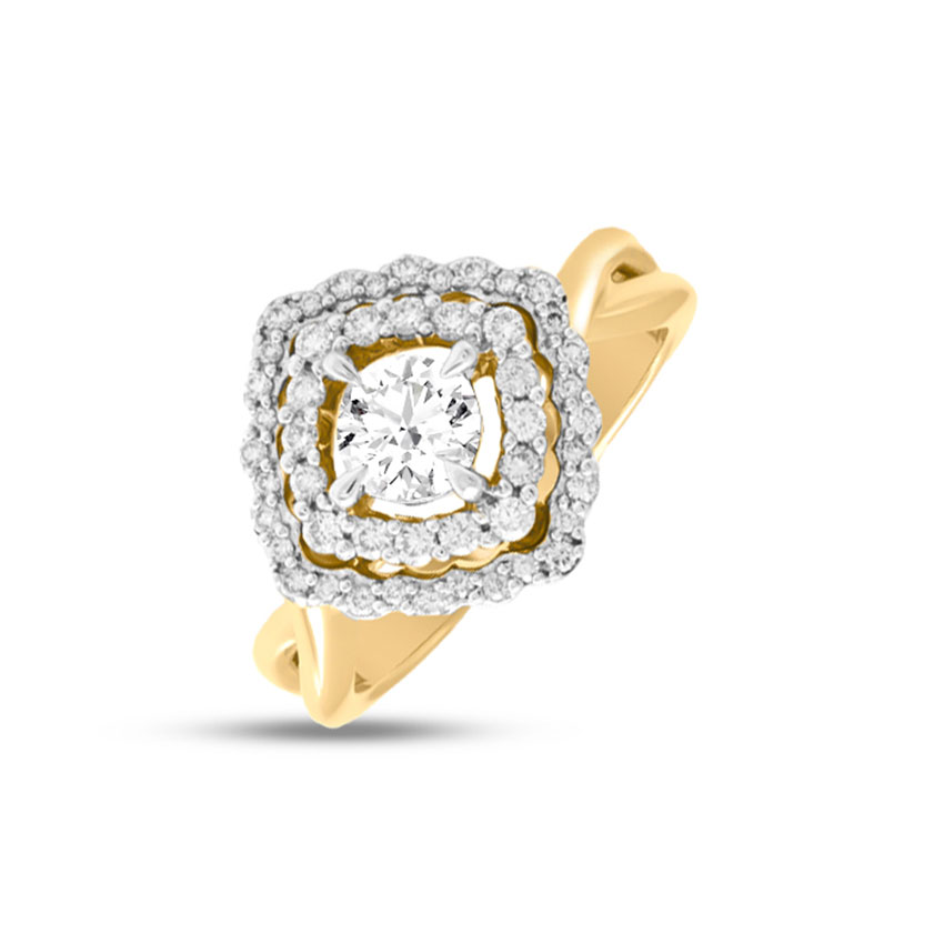 Solitaire Rings 18 Karat Yellow Gold Opulent Wave Solitaire Ring