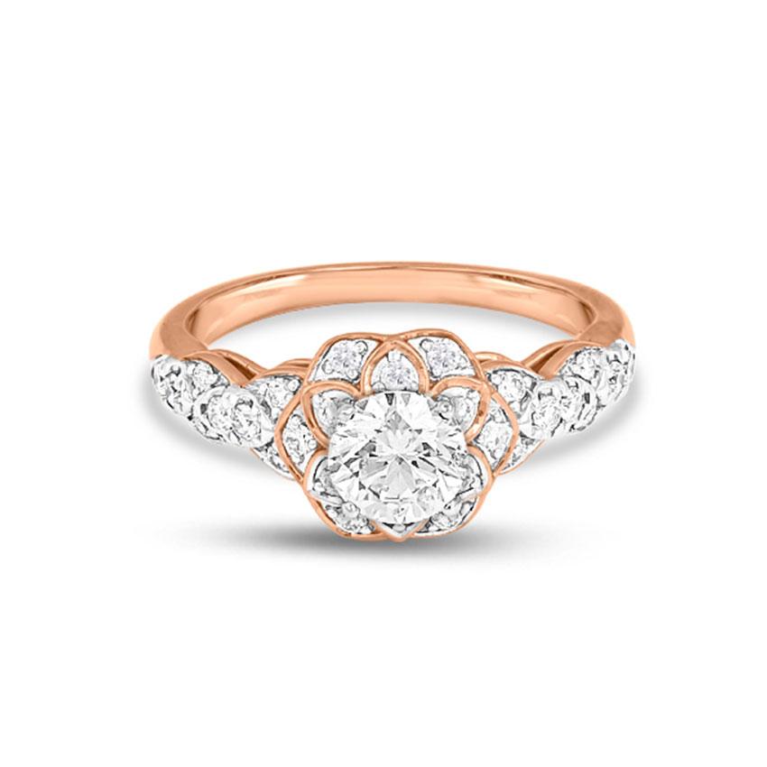 Solitaire Rings 18 Karat Rose Gold Elle Enhanced Solitaire Ring