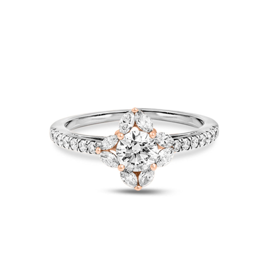 Solitaire Rings 18 Karat Two Tone Gold Zara Solitaire Ring