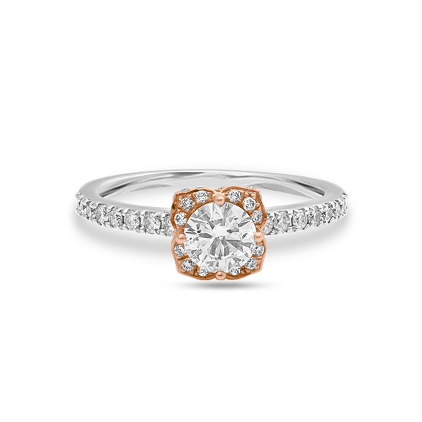 Solitaire Rings 18 Karat Two Tone Gold Juliana Solitaire Ring