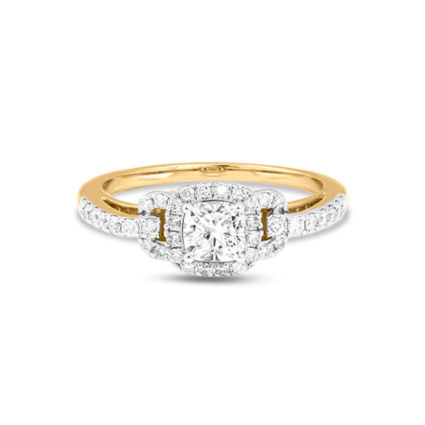 Solitaire Rings 18 Karat Yellow Gold Kiara Halo Solitaire Ring