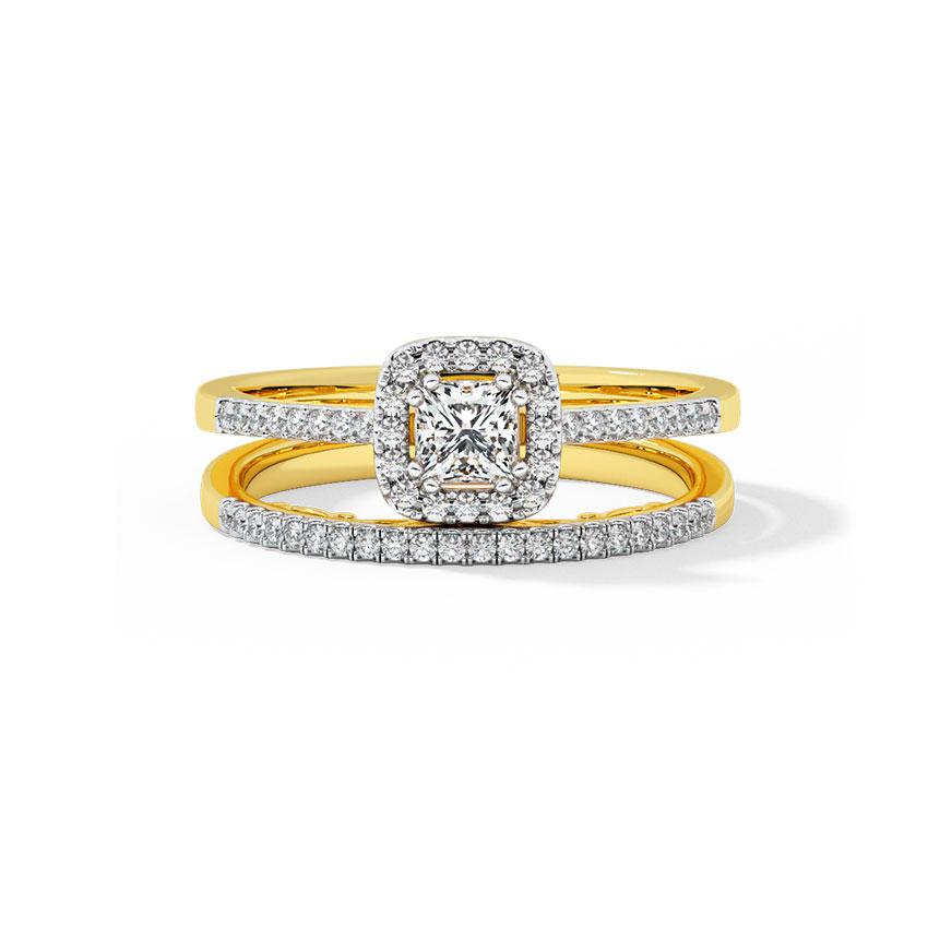 Sunshine Halo Bridal Ring Set