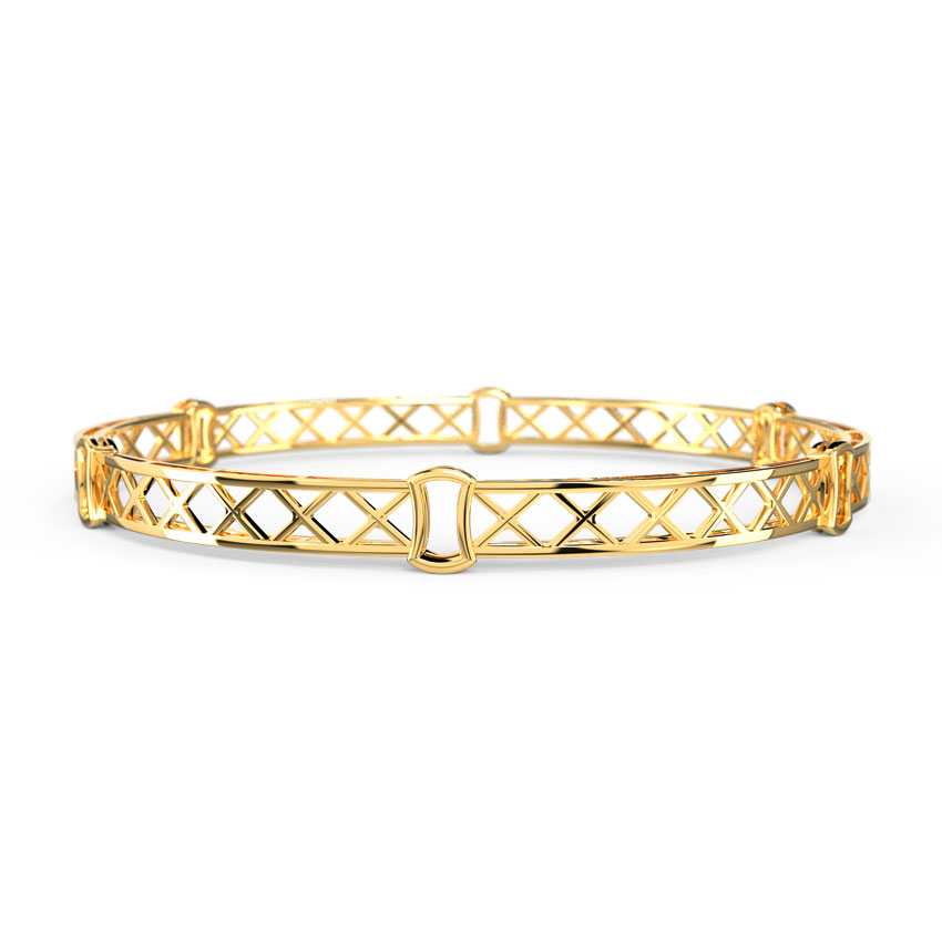 Gold Bangles 18 Karat Yellow Gold Chloe Criss-Cross Gold Bangle
