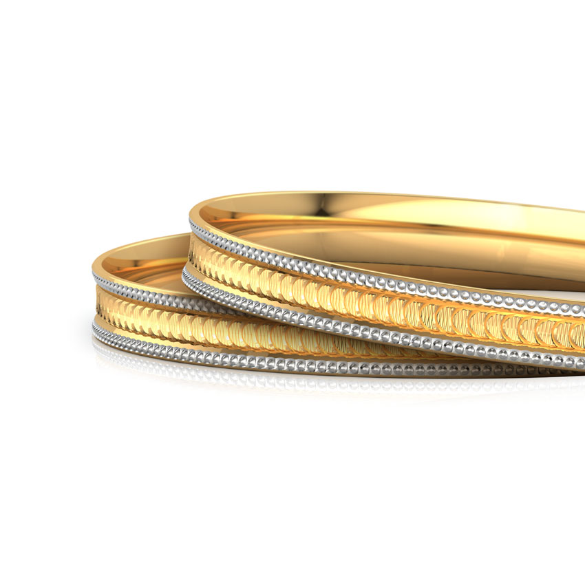Notch Texture Gold Bangle Set of 2