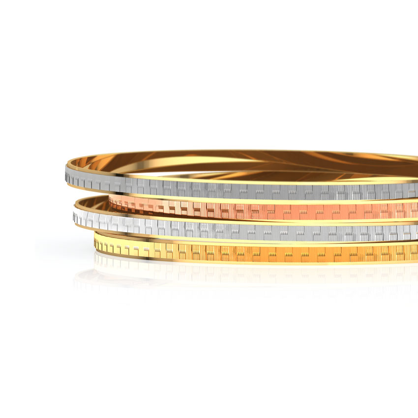 Straight Weave Gold Bangle Set of 4