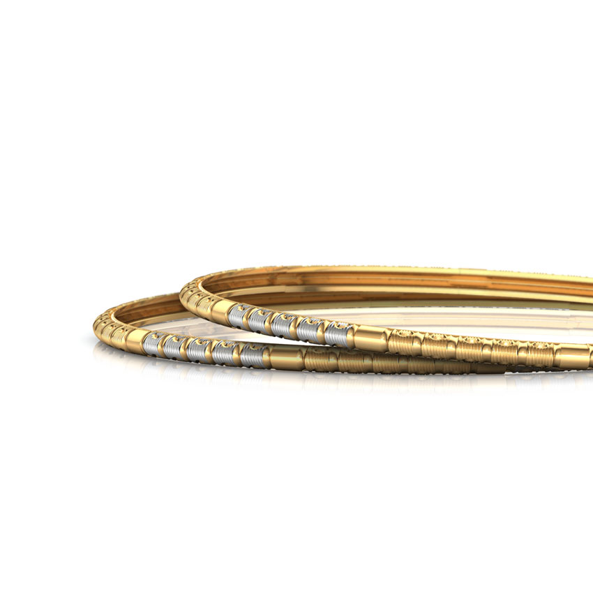 Two Tone Grooved Gold Bangle Set of 2