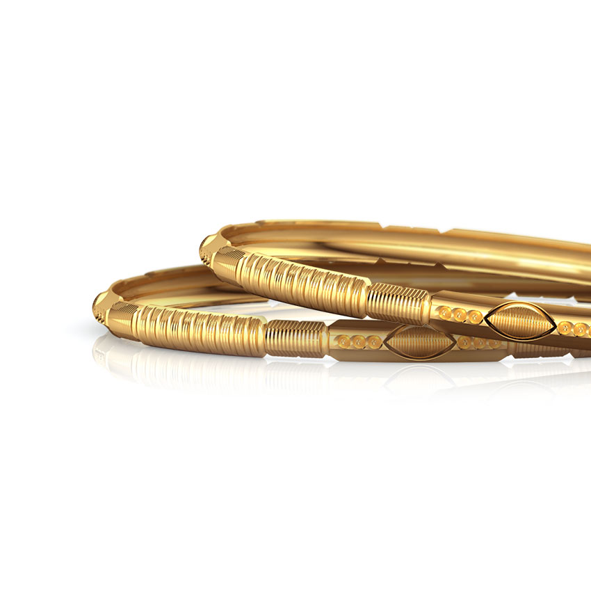 Patterened Gold Bangle Set of 2