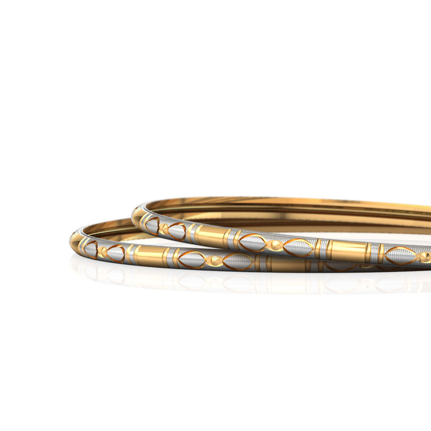 Grooved Texture Gold Bangle Set of 2