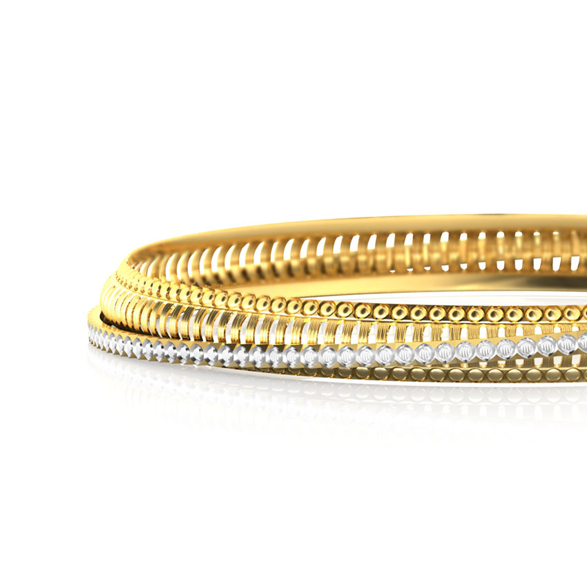 Linear Patterned Gold Bangle