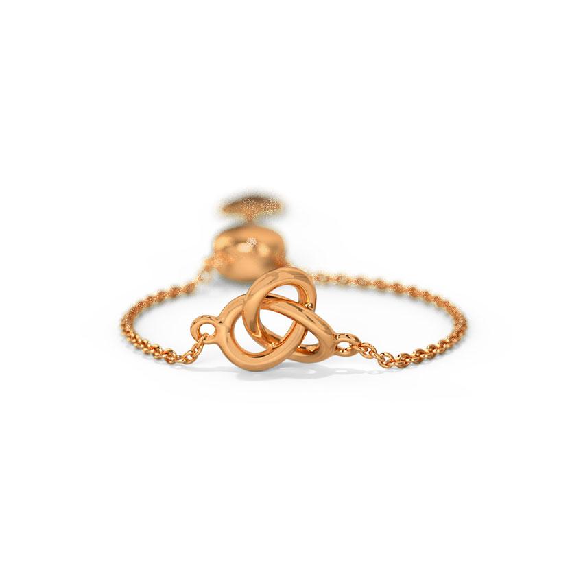 Gold Adjustable Rings 14 Karat Rose Gold Loop and Heart Gold Flexi Ring
