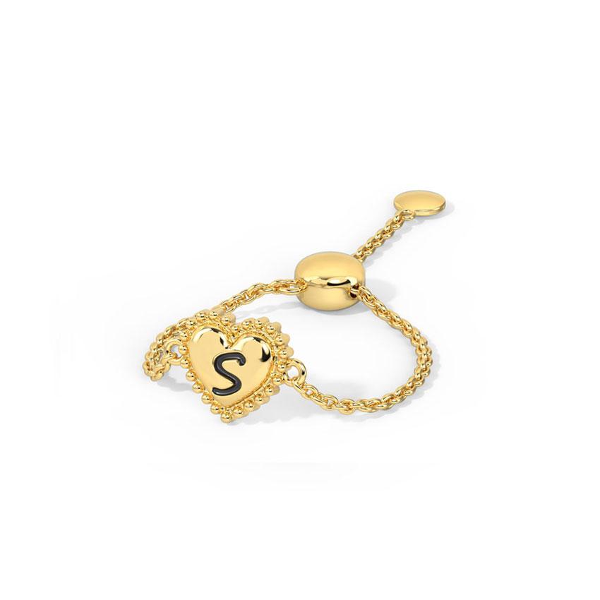 Gold Adjustable Rings 14 Karat Yellow Gold Heart Personalised Gold Flexi Ring