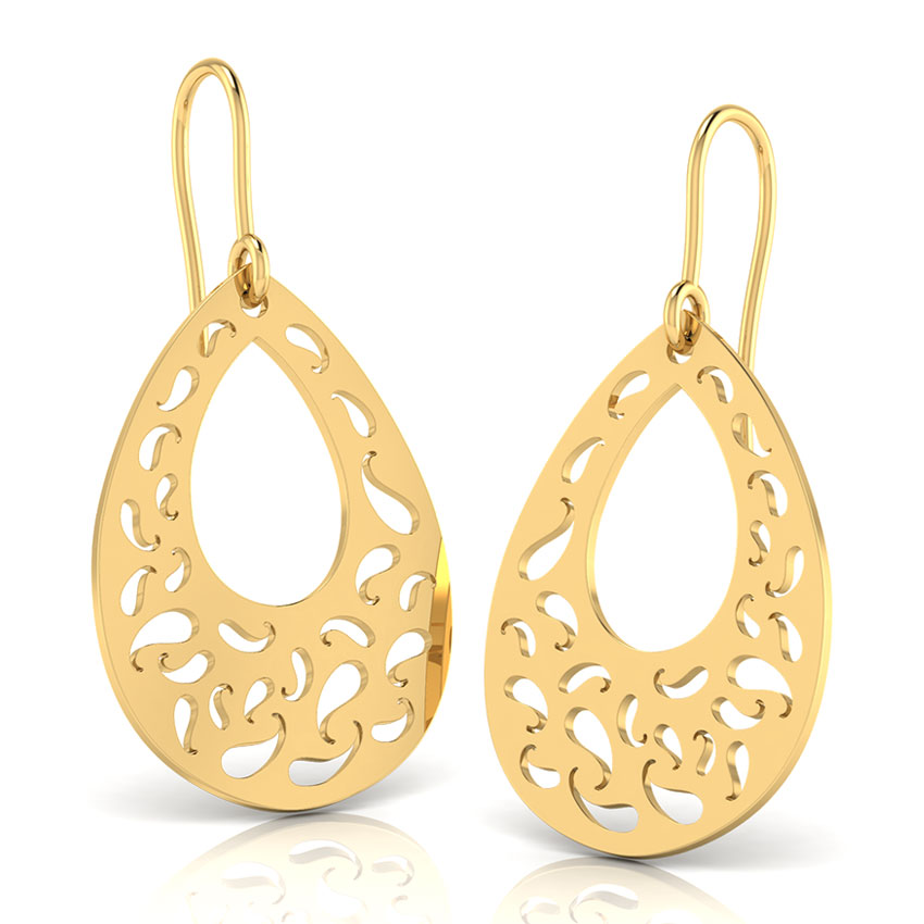 Gold Earrings 18 Karat Yellow Gold Paisley Cutout Gold Drop Earrings