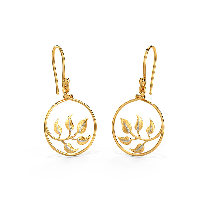 Framed Leaf Drop Earrings