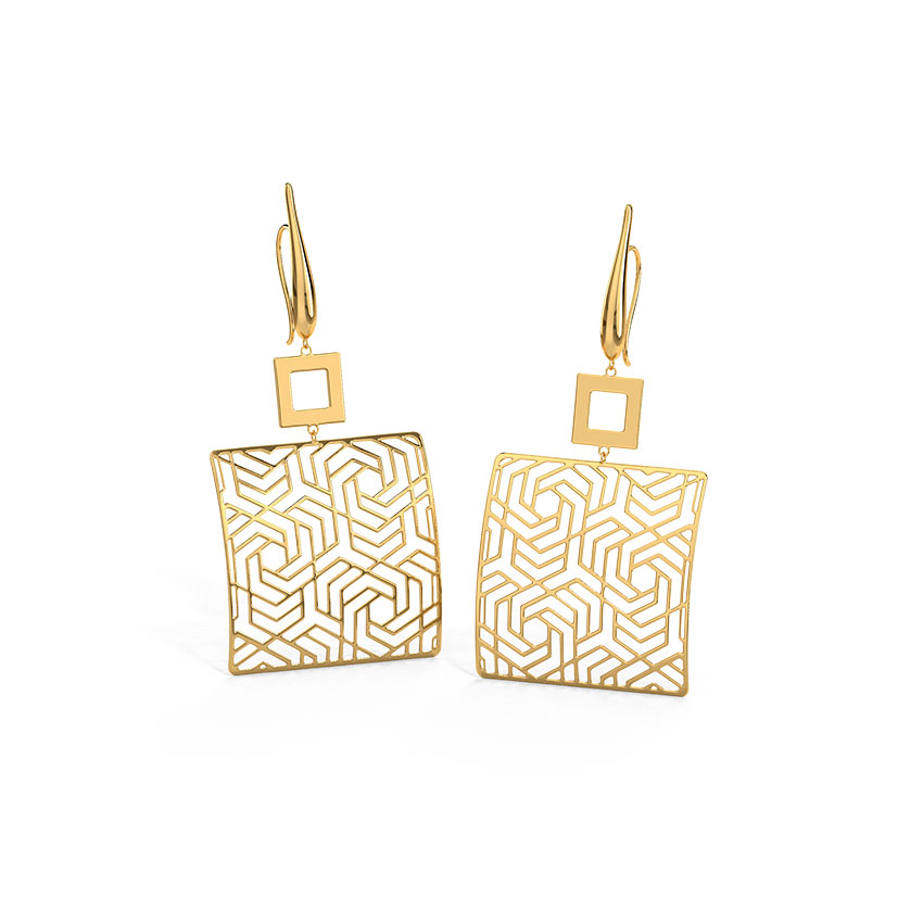 Ruth Pentagonal Swirl Drop Earrings