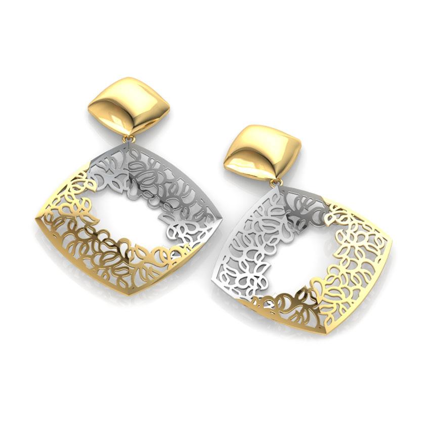 Gold Earrings 18 Karat Yellow Gold Lucy Lace Drop Gold Earrings