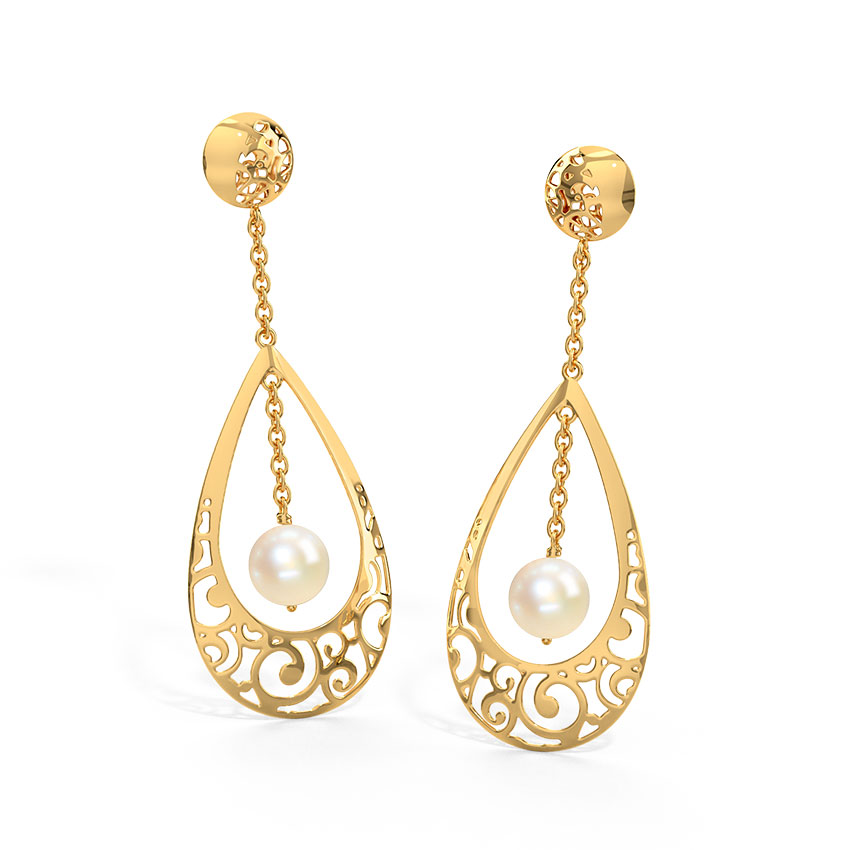 Gold Earrings 18 Karat Yellow Gold Jayme Cutout Gemstone Drop Earrings