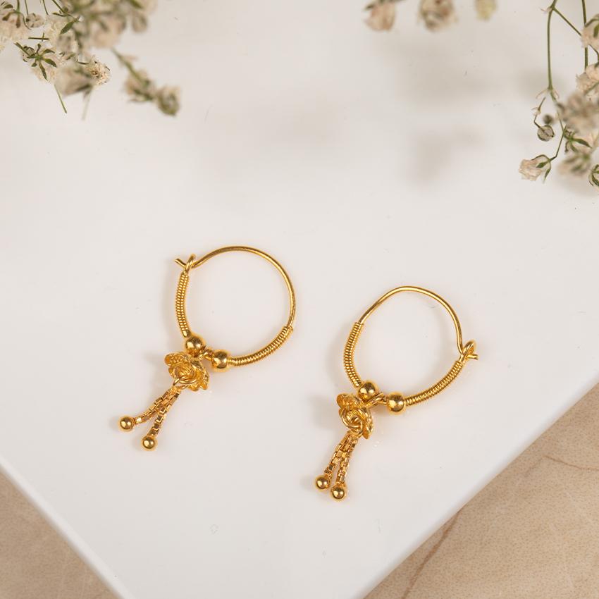 Chetsi Beaded Gold Hoop Earrings
