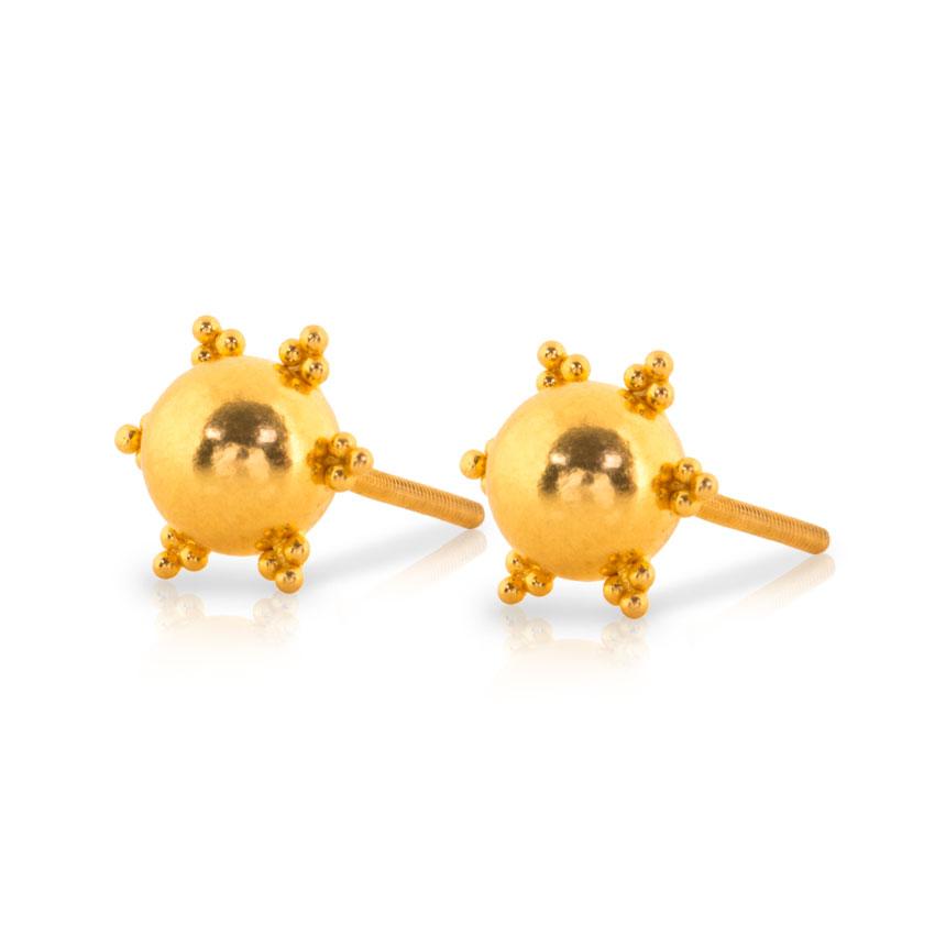 Heral Beaded Gold Stud Earrings