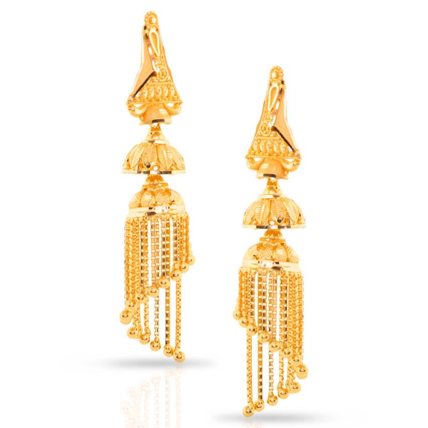 Lavy Beaded Gold Jhumkas Jewellery India Online - CaratLane.com