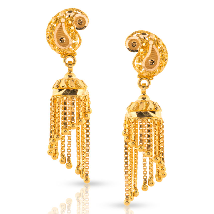 Miti Beaded Gold Jhumkas Jewellery India Online - CaratLane.com